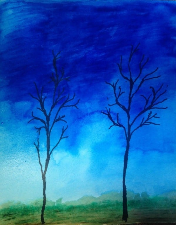 """""""This painting is from a resident at Trevecca Health and Rehab Center. We were speaking about the use of color and line to express mood, temperature, season. After she finished, she exclaimed, 'Now that's what winter looks like to me!'"""""""