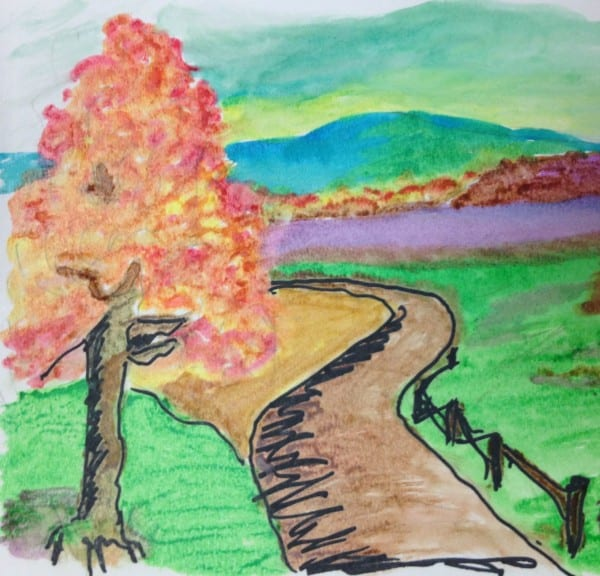 """""""The pathway was created by a gentleman at Elmcroft who has always loved art, but never had the opportunity to create. He is always engaged and thoughtful throughout his art process."""""""