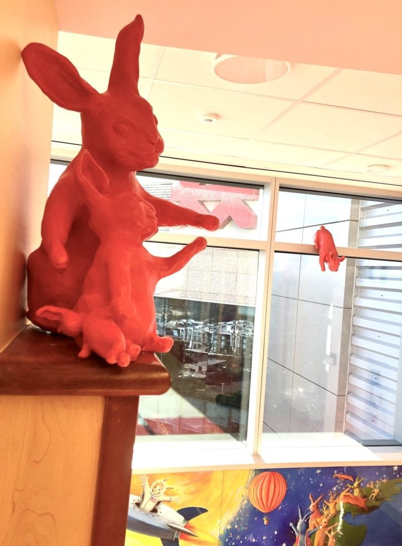 View of Mama and baby bunny, leaping bunny and mural at Vanderbilt Children's Hospital--11th floor. All art by Rachael McCampbell © 2020